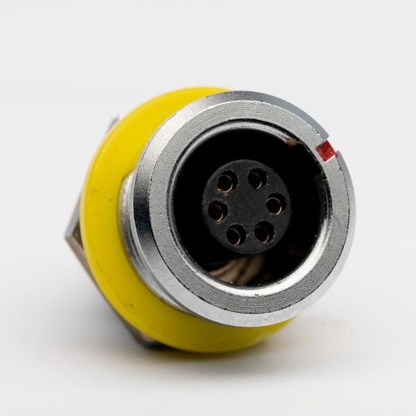 Lemo RG 1.B 6 polige Einbaubuchse, gelber Markierungs-/ Isolationsring, gebraucht