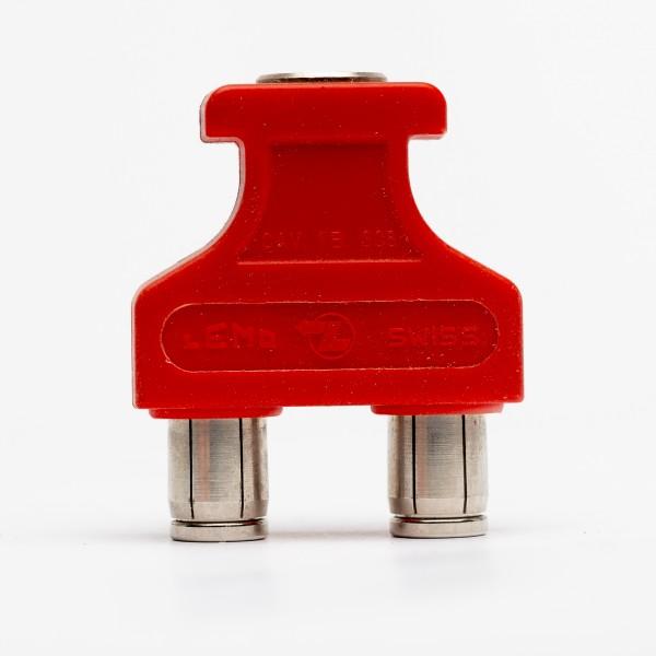 Lemo RG 1.B 6 poliger Brückenstecker mit Abgriff, rot, gebraucht